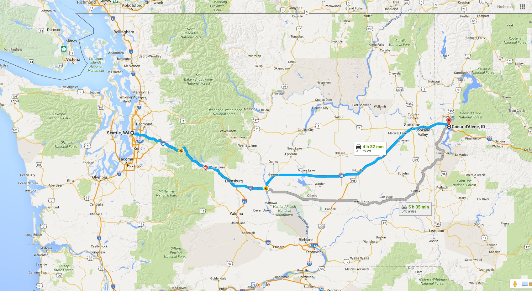 https://www.google.com/maps/dir/Seattle,+WA/Coeur+d'Alene,+ID/@47.2242396,-120.677991,8z/data=!3m1!4b1!4m14!4m13!1m5!1m1!1s0x5490102c93e83355:0x102565466944d59a!2m2!1d-122.3320708!2d47.6062095!1m5!1m1!1s0x5361b4f8ba557c8f:0x5fe5995b05bf5290!2m2!1d-116.7804664!2d47.6776832!3e0